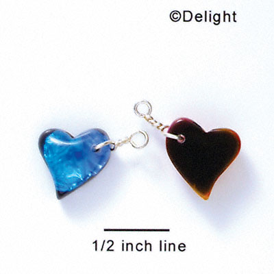 DC1023* - Blue Medium Swing Heart - Resin Dichroic Charm (Left or Right)