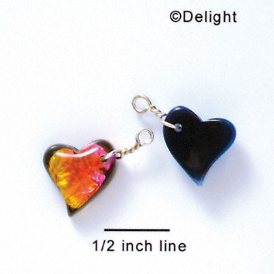 DC1024* - Pink, Orange, and Yellow Medium Swing Heart - Resin Dichroic Charm (Left or Right)