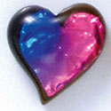 D1013* - Blue, Purple, and Pink Large Heart - Resin Dichroic Cabochon (Left or Right)
