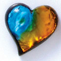 D1014* - Blue, Green, and Yellow Large Heart - Resin Dichroic Cabochon (Left or Right)