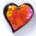 D1016* - Pink, Orange, and Yellow Large Heart - Resin Dichroic Cabochon (Left or Right)