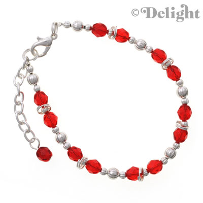 "BC2230 tlf - Red - Fire Polished Czech Glass Beaded Bracelet (8.5"")"