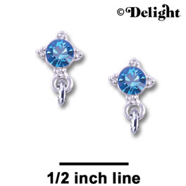 F1013 - 5mm Blue (Sapphire) Swarovski Crystal Post Earrings - Silver plated Finding (3 pairs per package)