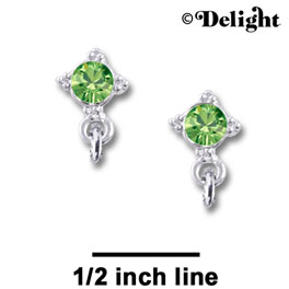 F1015 - 5mm Lime Green (Peridot) Swarovski Crystal Post Earrings - Silver plated Finding (3 pairs per package)
