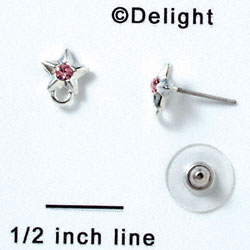 F1061 - Silver Star Post Earrings with Pink (Light Rose) Swarovski Crystal (Back included) (1 pair per package)
