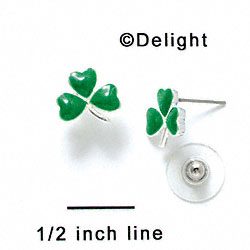 F1066 - Mini Green Shamrock Post Earrings (Back included) (1 pair per package)