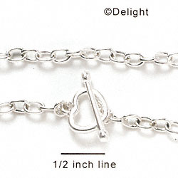 F1084 - Silver Chain Bracelet with Heart Toggle