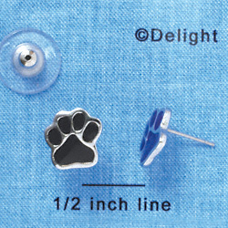 F1182 - Small Black Paw - Post Earrings (1 Pair per package)