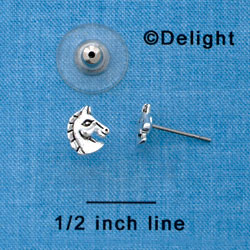 F1319 tlf - Silver Mini Classic Horse Head Post Earrings