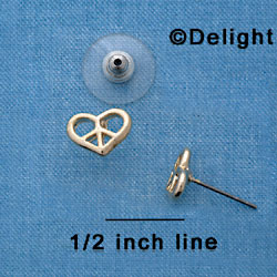F1342 tlf - Mini Gold Heart Peace Sign - Post Earrings (1 pair per package)
