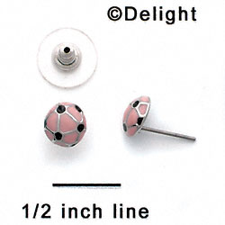 F1347 tlf - Pink Soccerball - Post Earrings (1 pair per package)