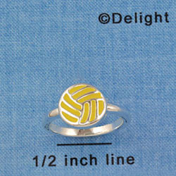 F1444 tlf - Enamel Water Polo Ball - Size 7 - Silver Plated Ring