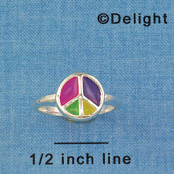 F1447 tlf - Translucent Multicolored Peace Sign - Size 7 - Silver Plated Ring