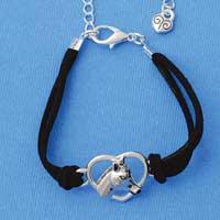 BR-F1506-F1525 tlf - Large Enamel Horse Head in Heart - Silver Plated Black Suede Bracelet