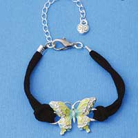 BR-F1508-F1525 tlf - Large Enamel Lime Green and Blue Butterfly with Swarovski Crystals - Silver Plated Black Suede Bracelet