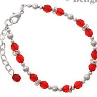 "BC2230 tlf - Red - Fire Polished Czech Glass Beaded Charm Bracelet (8.5"")"