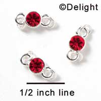 F1035 - 5mm Red (Light Siam) Swarovski Crystal Connector - Silver plated Finding (6 per package)