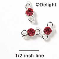 F1037 - 5mm Hot Pink (Rose) Swarovski Crystal Connector - Silver plated Finding (6 per package)