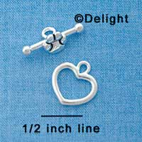 F1089 - Heart and Paw Bar Toggle Clasp (3 sets per package)