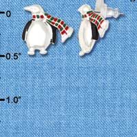 F1164 - Silver Penguin with Scarf - Post Earrings (1 Pair per package)