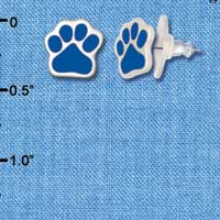 F1179 - Small Royal Blue Paw - Post Earrings (1 Pair per package)