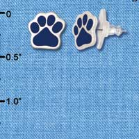 F1180 - Small Navy Blue Paw - Post Earrings (1 Pair per package)