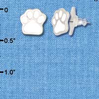F1183 - Small White Paw - Post Earrings (1 Pair per package)