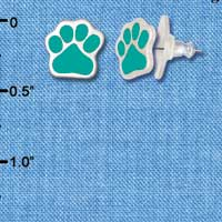 F1184 - Small Teal Paw - Post Earrings (1 Pair per package)