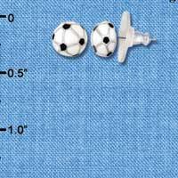 F1192 - Mini Enamel Soccerball - Post Earrings (1 Pair per package)