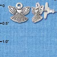 F1198 - Mini Angel with Heart - Post Earrings (1 Pair per package)
