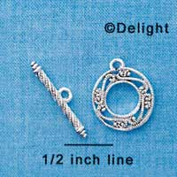 F1291 tlf - Silver Fancy Filigree Toggle Clasp