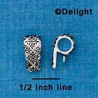 F1334 tlf - Antiqued Pattern - Silver Bail with Loop
