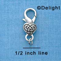 F1358 tlf - Celtic Heart - Im. Rhodium Lobster Claw Clasp
