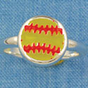F1449 tlf - Enamel Softball - Size 7 - Silver Plated Ring