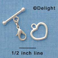 F1450 ctlf - Heart and Bar Toggle Clasp with Lobster Claw - Bracelet Converter (1 set per package)