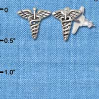 F1532 tlf - Caduceus - Silver Plated Post Earrings (1 Pair per package)