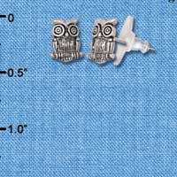 F1533 tlf - Antiqued Owl - Silver Plated Post Earrings (1 Pair per package)