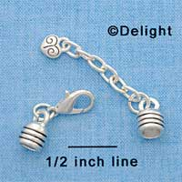 F1611 tlf - End Caps plus Clasp & Chain for Rubber Bracelet - Im. Rhodium Plated Finding Set (1 Set per package)