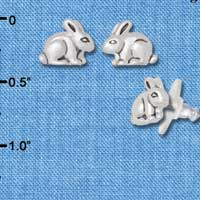 F1815* tlf - Small Bunny - Silver Plated Post Earrings (1 Pair per package) Jewelry Findings