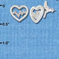 F1821 tlf - Small Heart with AB Crystal Pulse - Silver Plated Post Earrings (1 Pair per package) Jewelry Findings