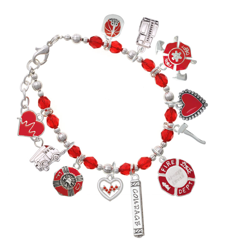 44542f33b2cc4 Red Firefighter Charm Bracelet - Jewelry Idea