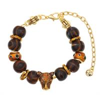 Brown and Gold Tiger Large Hole Bead Bracelet Jewelry Idea