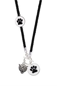 Black and White Paw Suede Toggle Necklace