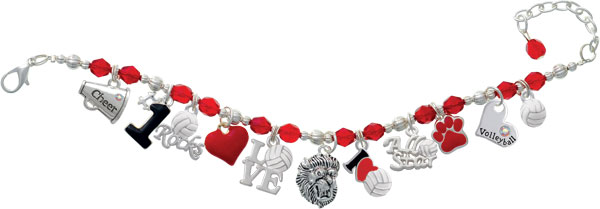 Red Volleyball Beaded Charm Bracelet