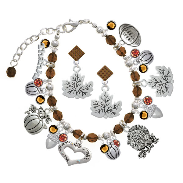 Silver & Brown Beaded Thanksgiving Day Charm Bracelet