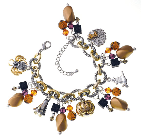 Gold & Purple Halloween Charm Bracelet