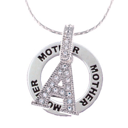 Crystal Initial Mom Affirmation Ring Necklace