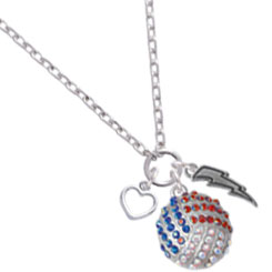 Red, White & Blue Crystal Volleyball Necklace