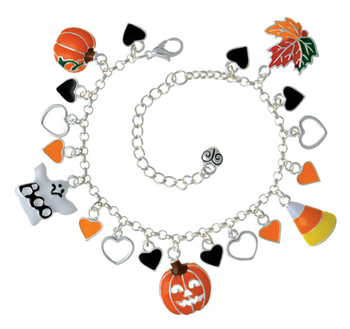 Mini Hearts Halloween Charm Bracelet