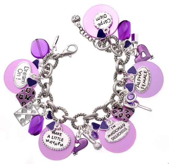 Purple Mayhem Diva Charm Bracelet